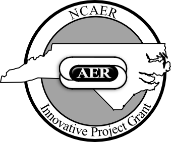 Out line of NC with AER logo, NCAER Innovative Projects Grant