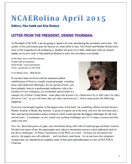Cover of the April 2015 NCAERolina Cover - click here to read the newsletter